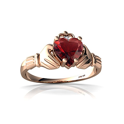 14kt Rose Gold Garnet and Diamond 6mm Heart Claddagh Ring - Size 8