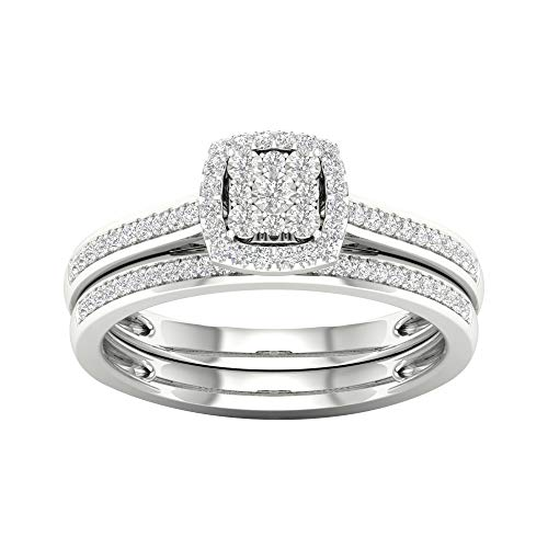 Tdw Prong Set - IGI Certified Sterling Silver 1/5ct TDW Diamond Halo Bridal Set