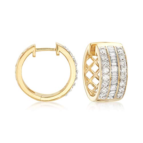 Ross-Simons 1.00 ct. t.w. Baguette and Round Diamond Hoop Earrings in 18kt Gold Over Sterling