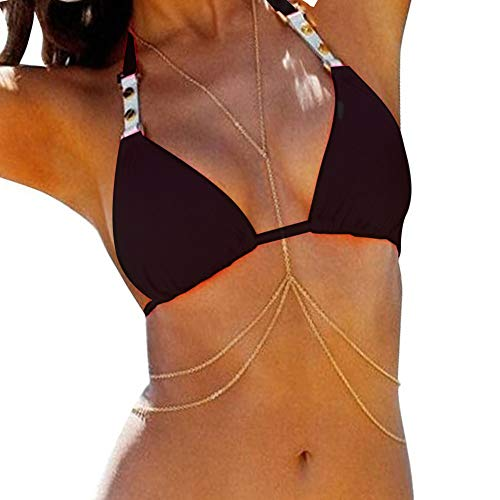 Bestjybt Fashion Women Sexy Golden Body Belly Waist Charm Chain Bikini Beach Pendant Necklace