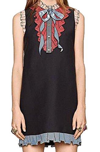 Black Sequin Bow Dress (Generic Women's Sexy Sequin Slim Bow-knot Sleeveless Dress Black XL)