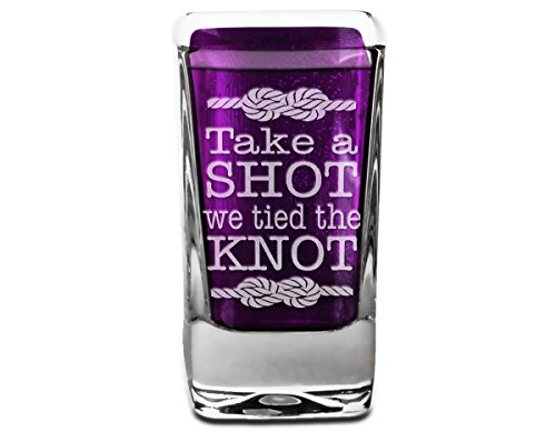 Take a Shot we Tied the Knot Engraved Personalized front back Wedding Party Reception Favors Just Married for Bride Groom Engraved Groomsmen Gift]()