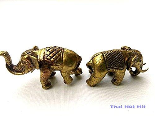 Mini 2 Elephant Brass Powerful Magic Thai Amulet Hunting Money Protection Talisman by Orange Skull