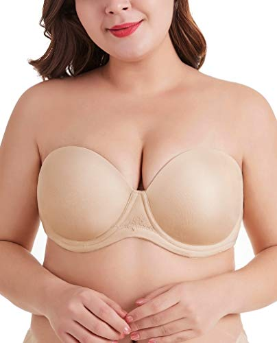 DotVol Women's Multiway Strapless Bra Full Figure Underwire Contour Beauty Back Plus Size Bra(40C, Beige)