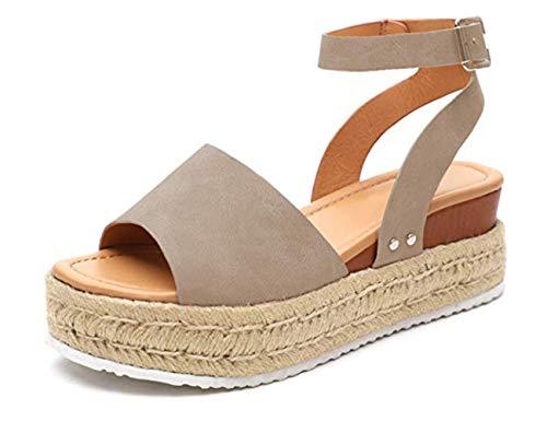 YATB Womens Casual Espadrilles Trim Rubber Sole Flatform Studded Wedge Buckle Ankle Strap Open Toe - Footwear Buckle