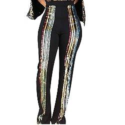 High Waist Striped Sequin Trouser Pant