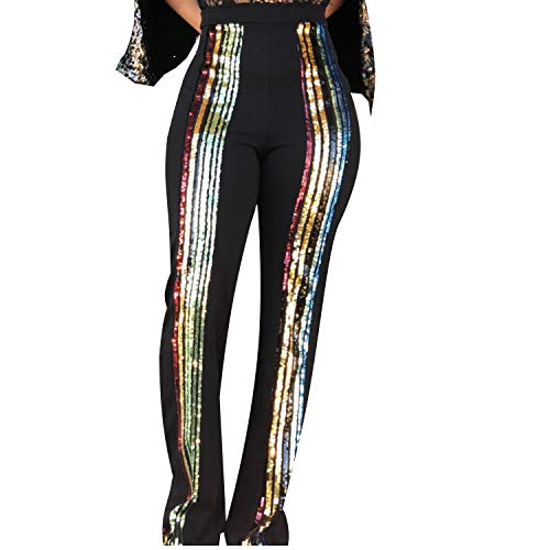OOIN Women's High Waist Striped Sequins Wide Leg Trousers Pants (Small, Black) ()