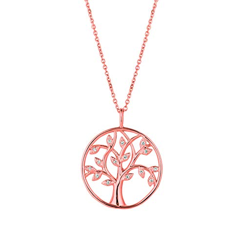 14K Pink Gold Diamond tree Necklace - 0.11ctw. Diamond