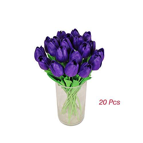 (ZHOUMOJH 28 Unids Flor Artificial Familia tulipán decoración del hogar precio Bajo Regalo salón de la boda ramo)