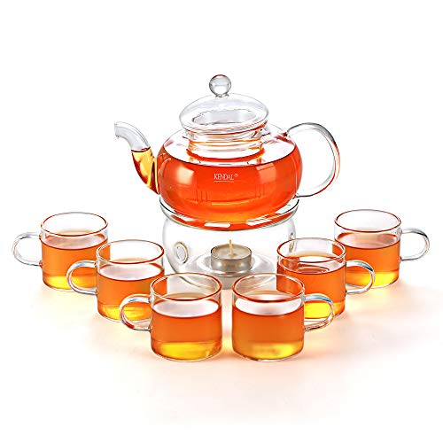 (27 oz Glass Filtering Tea Maker Teapot with a Warmer and 6 Tea Cups CJ-BS808A )