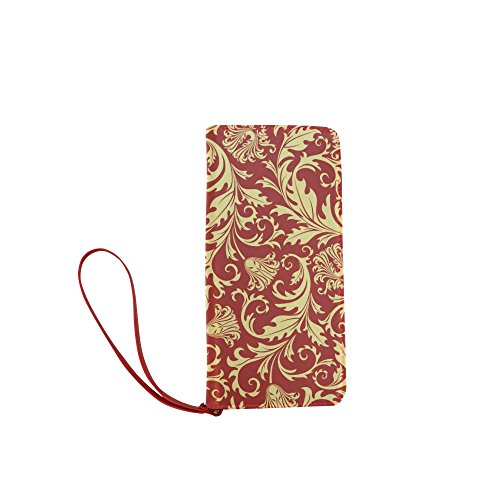 Women's Vintage Floral Print Clutch Wallet Purse with Wrist Strap (Large Clutch Vine Wallet)