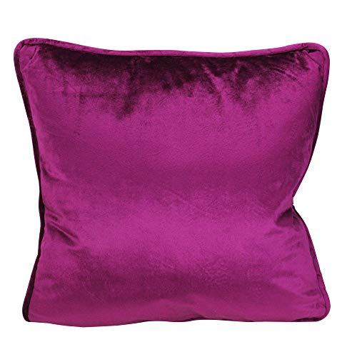 Northlight 17 Berry Purple Velvet Plush Velvet Solid Square Throw Pillow with Piped - Piped Edging