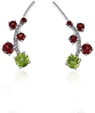 925 Sterling Silver Natural Round Garnet Peridot Ear Crawler Climber Earrings For Women