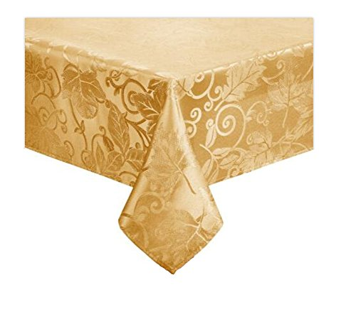 - Harvest Autumn Leaves Damask Tablecloth Easy Care Fabric (60 x 84 Rectangle/Oblong, Gold)