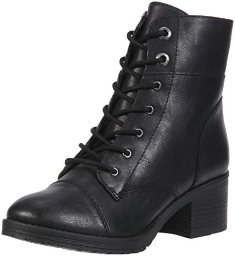 Image of Rampage Krista Womens Lace-Up Chunky Heel Combat Boot Bootie, Black Smooth, 7.5 M US