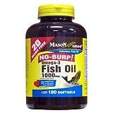Mason Vitamins Fish Oil 1000 mg Omega-3 No Burp Softgels, 60 Count