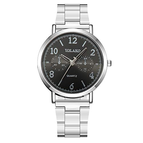 WaiiMak Women Quartz Business Watch with Stainless Steel Band, Classic Watches Arabic Numeral Unique Date Window Wristwatch (D)