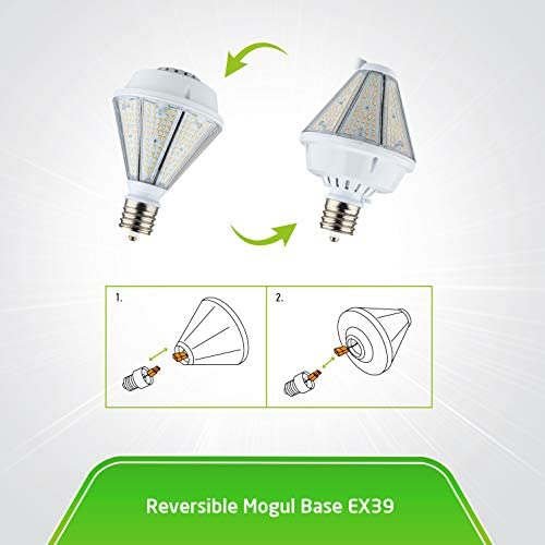 ASD 80W LED Corn Light Bulb – Reversible EX39 Base 5000K 9325Lm – Replaces 240W MHL – Cone LED Light Bulbs with Base on top – Outdoor Wall Lights – LED Shoebox Light – LED Post Top Bulb, UL DLC