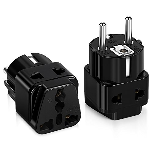 Universal European Schuko Plug, Travel Adapter, iSeekerkit 2Pack 250V/10A Dual Outlet Wall Power Charger Converter Adapter Type E/F USA Plug Kit to Germany,France,Schuko,Russia, Denmark,Iceland-Black