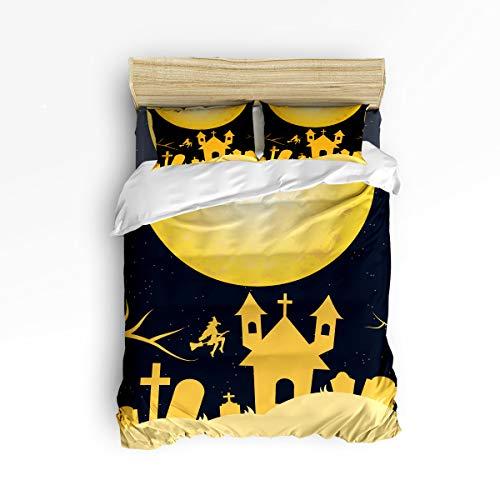 BMALL Duvet Cover Set Queen Size, Halloween Night Castle on The Full Moon Soft Stylish Home Decor Duvet Cover Set ()