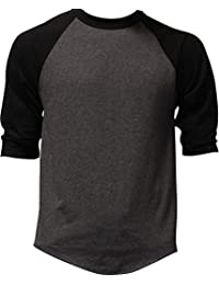 Casual Raglan Mens 3/4 Sleeve TShirt Baseball Cotton Jersey S-3XL (17+ Colors)