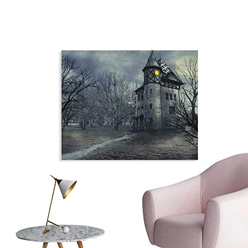 Anzhutwelve Halloween Wall Paper Halloween Design with Gothic Haunted House Dark Sky and Leafless Trees Spooky Theme Poster Print Teal W48 xL32]()