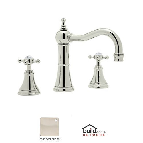 Rohl U.3724X-PN-2 Georgian Era Low Lead Widespread Bathroom Faucet with Pop-Up Drain and Metal Cross Handles, Polished Nickel (Lavatory Handle Rowe Double)