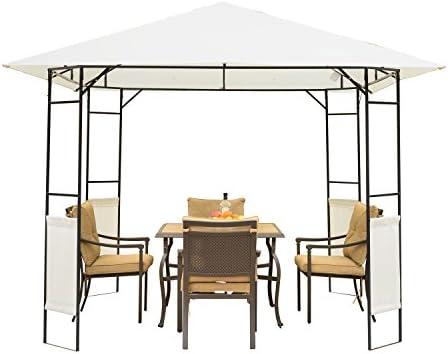 Outsunny Carpa 3x3x2.6m Cenador Jardin Marco de Acero y 4 Paraviento Lateral Color Crema