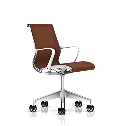 Herman Miller Setu Chair: Ribbon Arms - Translucent Casters - Studio White Frame/H-Alloy Base/Mango Lyris