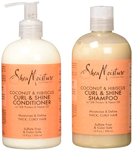 Shea Moisture Coconut & Hibiscus Curl & Shine Shampoo and Conditioner Set