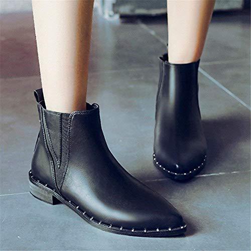 Retro Remaches 35 negro 35 Botas Eu Zapatos Pie Mujer Eu Cortas De Sed Casuales w4FAqfHw