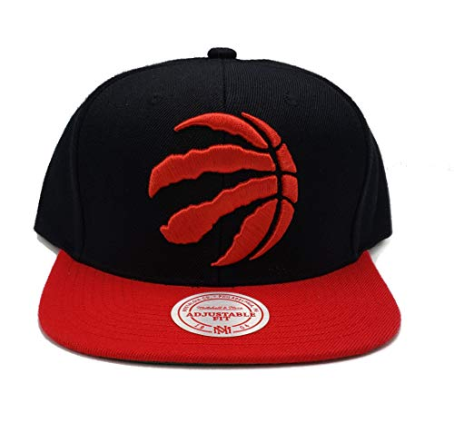 (Mitchell & Ness Toronto Raptors XL Logo 2 Tone Black Red Adjustable Snapback)
