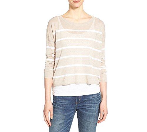 Eileen Fisher Women's Petite Stripe Knit Bateau-Neck Crop Sweater (Petite Large, Natural) by Eileen Fisher
