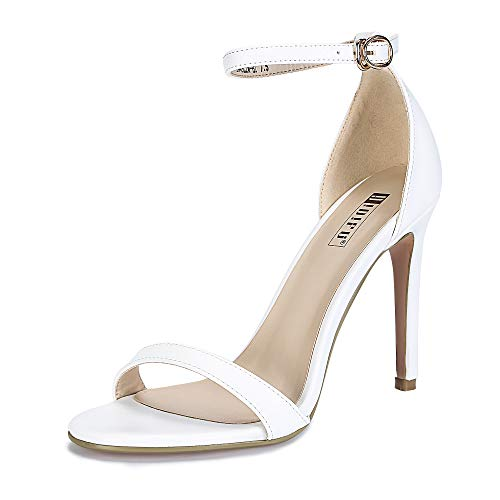 im-HI Open Toe Stiletto High Heel Ankle Strap Dress Sandals Party Shoes White Pu 5.5 M US ()