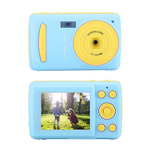 Ichiias Digital Camera HD 16MP Portable Children Camera with 2.4in Screen 16X Digital Zoom Timestamp(Blue)