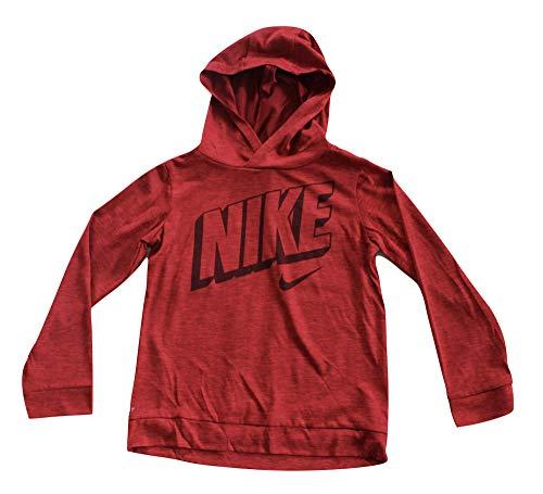 Nike Boy's Long Sleeve Logo Pullover Hoodie Shirt Heather Red Crush Hoody (6)