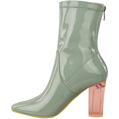 Mode Törstiga Kvinna Ankel Stövlar Klar Glitter Perspex Blockera Hög Klack Mode Skor Dimensionera Grå / Grön Patent Med Se Genom Hälen