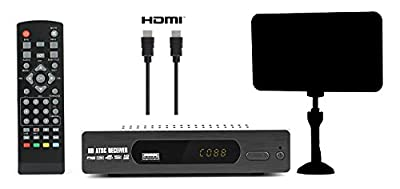 Digital Converter Box for TV + Flat Antenna + HDMI Cable for Recording & Viewing Full HD Digital Channels FREE (Instant & Scheduled Recording, DVR, 1080P, HDMI Output, 7Day Program Guide & LCD Screen)
