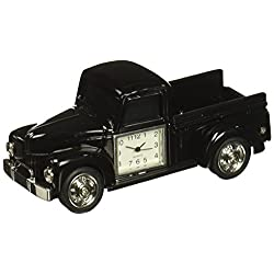 StealStreet SS-KD-3566-BLACK, 4.13 Inch Die Cast Metal Pick-Up Truck Analog Clock, Black, 4.13,