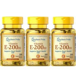 Vitamina E 200 IU 100 perlas. (Pack 3u.)