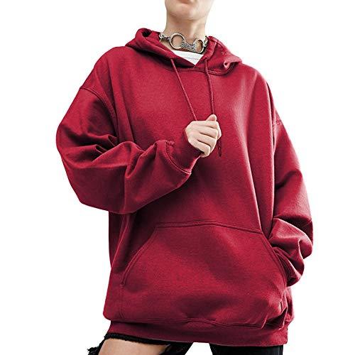 Emimarol Women Hoodie Sweatshirt, Long Sleeve Tops for Women Casual Patchwork Hooded Pullover Wine Red