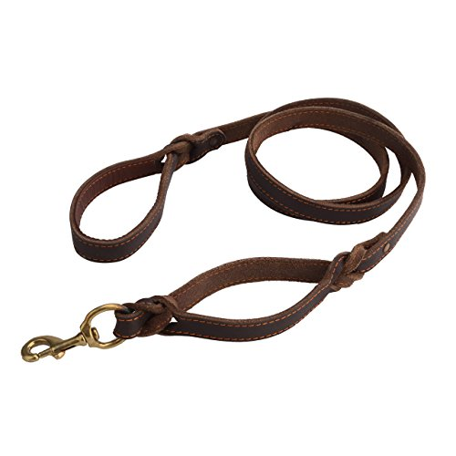 Brown Genuine Leather Dog Leash Double Handle for Training and Walking Dogs 6 ft 4/5
