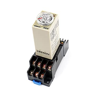 Baomain AC 110V H3Y-4 Time Delay Relay Solid State Timer 0-5Min 4PDT w Socket