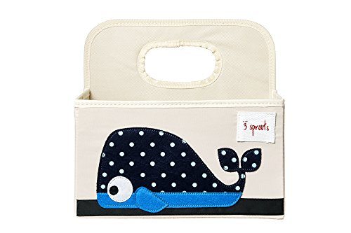 3 Sprouts Diaper Caddy, Whale Blue (Basket Whale)