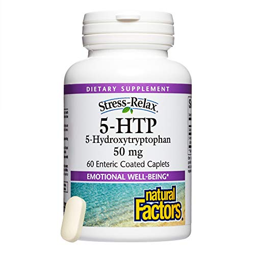 Enteric Coated 5 Htp - Stress-Relax by Natural Factors, 5-HTP 50 mg, Support for Emotional Health and Relaxation, 60 caplets (60 Servings)