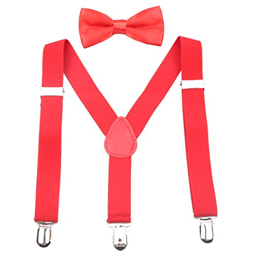 GUCHOL Kids Suspenders Bowtie Set - Adjustable Length 1 Inches Strengthen Suspender with Bow Tie Set for Boys and Girls (Red)