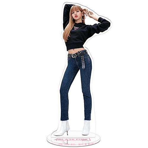 Youyouchard Kpop Blackpink Acrylic Plastic T-Shaped Character Image Display Stand Lisa Rose Jennie Standing Plates Deco Fans Gift(Lisa-1)