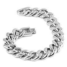 Top Silver Cuban Curb Link Chain Bracelet Men Stainless Steel Jewelry,7-11""