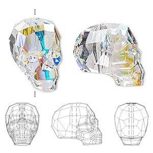 Swarovski Crystal Shining Beads (Swarovski Crystal AB 19x18x14mm Faceted Skull Bead (5750) Set of 2)