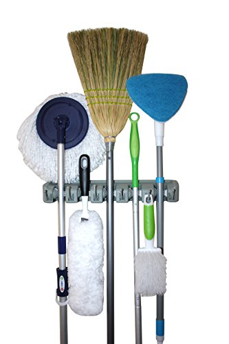 Twist and Shout - Mop and Tool Organizer with 5 Slots and 6 Hooks - Superior Dual Track White Rubber for Better Grips